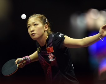 Liu Shiwen of Chinaserves during her women's singles quarter-final match against Zhu Yuling of Chinaat the 2015 World Table Tennis Championships at the Suzhou International Expo Center in Suzhou, Jiangsu province on May 1, 2015.    AFP PHOTO / JOHANNES EISELE        (Photo credit should read JOHANNES EISELE/AFP/Getty Images)