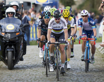 April 3, 2016 - Kluisbergen, BELGIUM - Polish Michal Kwiatkowski of Team Sky, Slovakian Peter Sagan of Tinkoff, Belgian Sep Vanmarcke of Team LottoNL-Jumbo and Belgian Dimitri Claeys of Wanty-Groupe Gobert pictured in action at the Oude Kwaremont in Kluisbergen during the 100th edition of the 'Ronde van Vlaanderen - Tour des Flandres - Tour of Flanders' one day cycling race, 255km from Zedelgem to Oudenaarde, Sunday 03 April 2016. BELGA PHOTO KRISTOF VAN ACCOM (Credit Image:   Kristof Van Accom/Belga via ZUMA Press)  KOLARSTWO ROWER WYSCIG FOT.ZUMA/NEWSPIX.PL POLAND ONLY!!! --- Newspix.pl *** Local Caption *** www.newspix.pl  mail us: info@newspix.pl call us: 0048 022 23 22 222 --- Polish Picture Agency by Ringier Axel Springer Poland