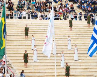 April 27, 2016 - Athens, Greece - Priests and priestesses of the ceremony are seen standing in  the Panathenaic Stadium behind the Olympic flag and the flags of Brazil and Greece. (Credit Image: © Chrysa Koutroumanou/Pacific Press via ZUMA Wire)  GRECJA ATENY ZNICZ OLIMPIJSKI OGIEN OLIMPIJSKI IGRZYSKA OLIMPIJSKIE OLIMPIADA RIO 2016 FOT. ZUMA/NEWSPIX.PL  POLAND ONLY !!! --- Newspix.pl *** Local Caption *** www.newspix.pl  mail us: info@newspix.pl call us: 0048 022 23 22 222 --- Polish Picture Agency by Ringier Axel Springer Poland