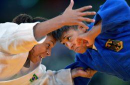 LONDON, July 30, 2012  Rafaela Silva (in white) of Brazil competes with Miryam Roper of Germany during women's Judo 57kg eliminatin round of 32 contest, at London 2012 Olympic Games in London, Britain, on July 30, 2012. Rafaela Silva of Brazil won. (Credit Image: © Chen Xiaowei/Xinhua/ZUMAPRESS.com)  OLIMPIADA IGRZYSKA OLIMPIJSKIE LONDYN 2012 FOT. ZUMA/NEWSPIX.PL  POLAND ONLY !!! --- Newspix.pl *** Local Caption *** www.newspix.pl  mail us: info@newspix.pl call us: 0048 022 23 22 222 --- Polish Picture Agency by Ringier Axel Springer Poland