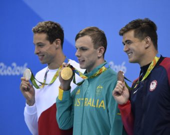 RIO DE JANEIRO, Aug. 10, 2016  Gold medalist Kyle Chalmers (C) of Australia, silver medalist Pieter Timmers (L) of Belgium, bronze medalist Adrian Nathan of the United States of America show thier medals during the awarding ceremony of the men's 100m freestyle final of swimming at the 2016 Rio Olympic Games in Rio de Janeiro, Brazil, on Aug. 10, 2016. xr) (Credit Image:   Wang Peng/Xinhua via ZUMA Wire)  IGRZYSKA OLIMPIJSKIE BRAZYLIA LETNIA OLIMPIADA FOT.ZUMA/NEWSPIX.PL POLAND ONLY!!! --- Newspix.pl *** Local Caption *** www.newspix.pl  mail us: info@newspix.pl call us: 0048 022 23 22 222 --- Polish Picture Agency by Ringier Axel Springer Poland