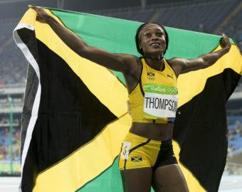 August 17, 2016 - Rio de Janeiro, RJ, Brazil - OLYMPICS ATHLETICS:  Gold medal winner Elaine Thompson (JAM) celebrates in the Women's 200m Final at Olympic Stadium (Engenh'ÄLo) during the 2016 Rio Summer Olympics games. (Credit Image:   Paul Kitagaki Jr. via ZUMA Wire)  IGRZYSKA OLIMPIJSKIE W BRAZYLII BRAZYLIA FOT.ZUMA/NEWSPIX.PL POLAND ONLY!!! --- Newspix.pl *** Local Caption *** www.newspix.pl  mail us: info@newspix.pl call us: 0048 022 23 22 222 --- Polish Picture Agency by Ringier Axel Springer Poland
