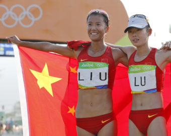 RIO DE JANEIRO, Aug. 19, 2016  China's Liu Hong (L) and Lu Xiuzhi celebrate after the women's 20KM race walk at the 2016 Rio Olympic Games in Rio de Janeiro, Brazil, on Aug. 19, 2016. Liu Hong won the gold medal.  dh) (Credit Image: © Shen Bohan/Xinhua via ZUMA Wire)  BRAZYLIA RIO 2016 OLIMPIADA IGRZYSKA OLIMPIJSKIE FOT. ZUMA/NEWSPIX.PL  POLAND ONLY !!! --- Newspix.pl *** Local Caption *** www.newspix.pl  mail us: info@newspix.pl call us: 0048 022 23 22 222 --- Polish Picture Agency by Ringier Axel Springer Poland