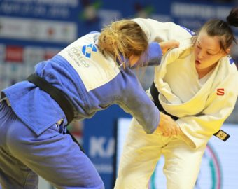 KAZAN, RUSSIA - APRIL 24: Arleta Podolak (blue) of the Poland in action against Daria Mezhetckaia (white) of Russia during the women's final bout of the Judo European Championships at the Tatneft Arena in Kazan, Russia on April 24, 2016. Alexey Nasyrov / Anadolu Agency  ROSJA JUDO MISTRZOSTWA EUROPY FOT. ABACA/NEWSPIX.PL  POLAND ONLY !!! --- Newspix.pl *** Local Caption *** www.newspix.pl  mail us: info@newspix.pl call us: 0048 022 23 22 222 --- Polish Picture Agency by Ringier Axel Springer Poland
